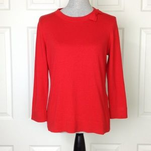 Kate Spade Red Bow Neck 3/4 Sleeve Sweater SZ L